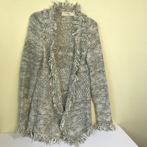 Zara Knit Tweed Open Jacket Cardigan Sweater Long